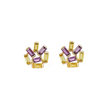 Medium Jubilation Studs - Amethyst and Yellow Sapphire