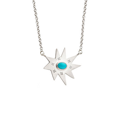 Silver Stella Necklace: Turquoise