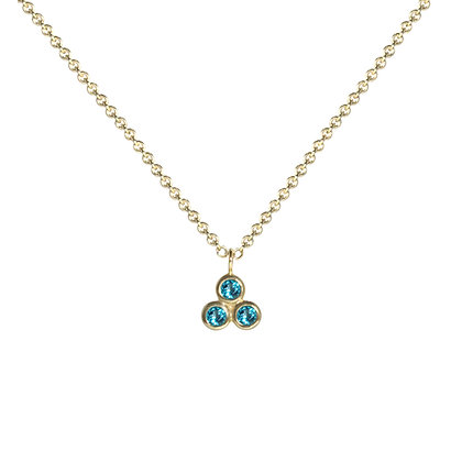 Three Dot Necklace with Paraiba Topaz