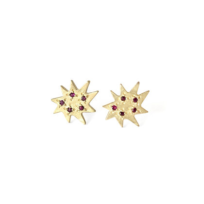 Mini Stella Stud Earrings with Rubies
