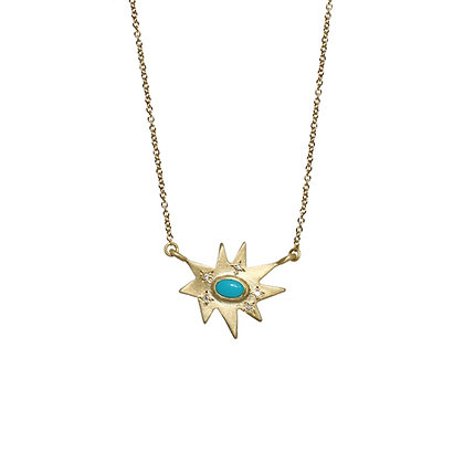 Gold Stellina Necklace: Turquoise
