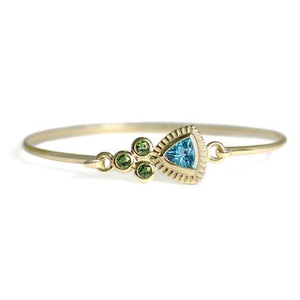 Latch Hook Signature Bangle with Green Tourmaline and Blue Topaz