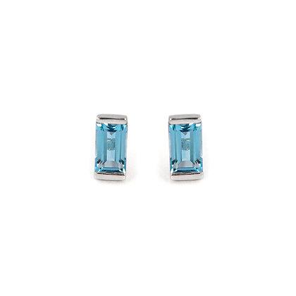 Sterling Silver Blue Topaz Bonbon Stud Earrings