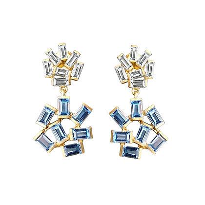 Double Jubilation Earrings - Diamonds and Blue Topaz