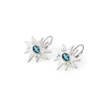 Silver Stellina Earrings: Blue Topaz