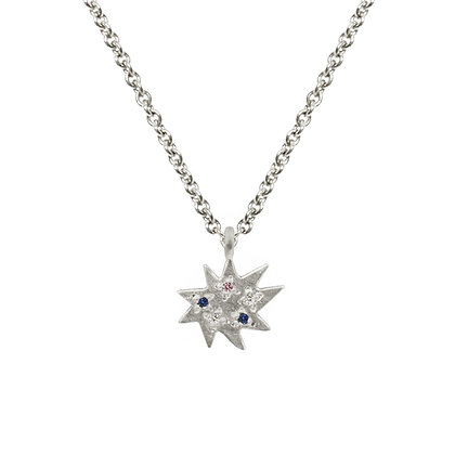 Mini Stella Silver Single Necklace with Colored Gemstoness