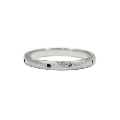 Matte Silver Stacking Ring with Multi-Stones