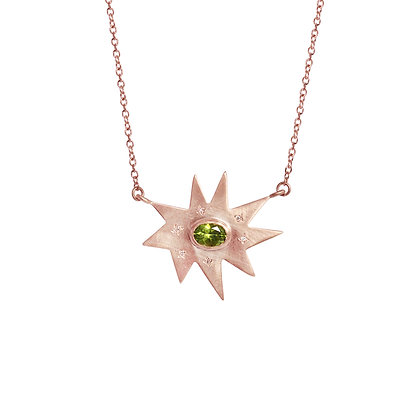 Rose Gold Stella Necklace: Peridot