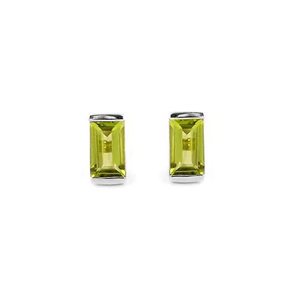 Sterling Silver Peridot Bonbon Stud Earrings