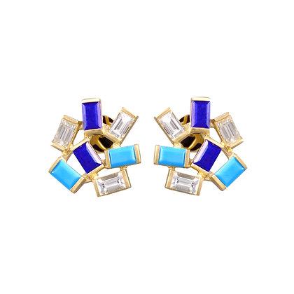Large Jubilation Studs-  Diamonds, Turquoise and Lapis