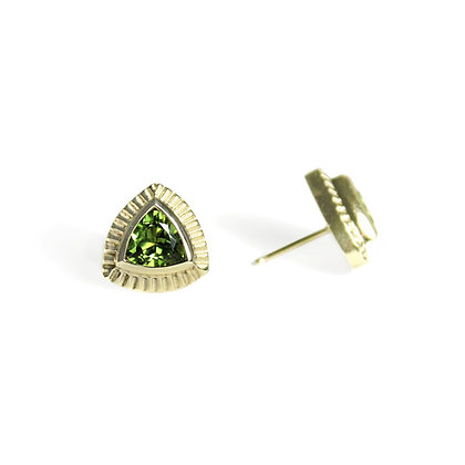 Trillion Earrings with Green Tourmaline