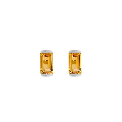 Sterling Silver Citrine Bonbon Stud Earrings