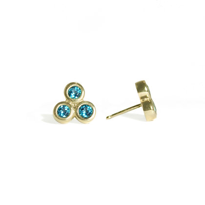Three Dot Earrings with Paraiba Topaz