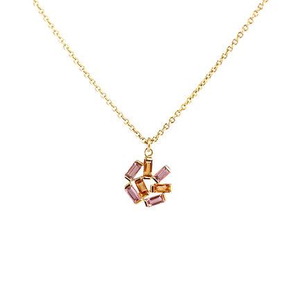 Medium Jubilation Pendant Necklace - Pink and Orange Sapphires