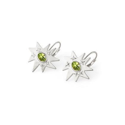 Silver Stellina Earrings: Peridot