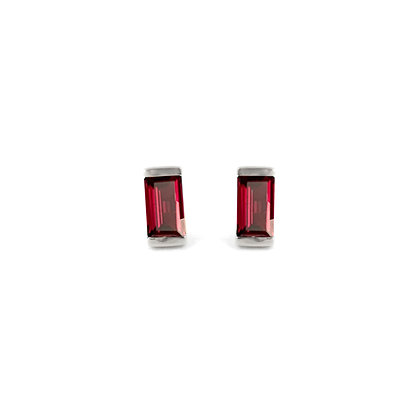 Sterling Silver Rhodolite Garnet  Bonbon Stud Earrings
