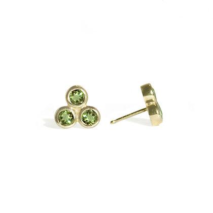 Three Dot Earrings with Peridot