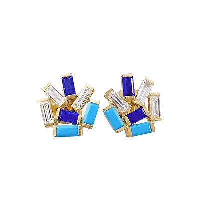 Medium Jubilation Studs - Diamonds, Turquoise and Lapis