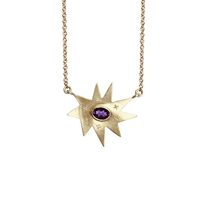 Gold Stella Necklace: Amethyst