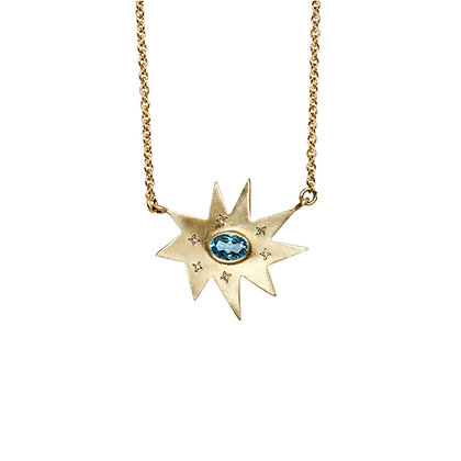 Gold Stella Necklace: Blue Topaz