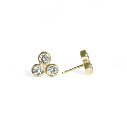 Three Dot Earrings with Diamond