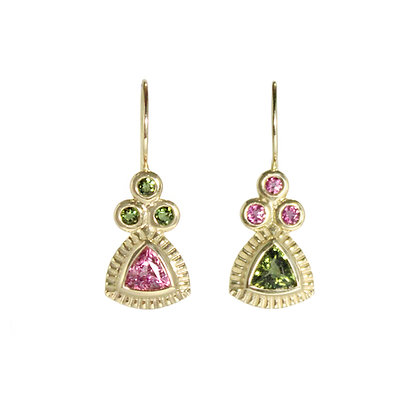 Signature Earrings with Green and Pink Tourmaline