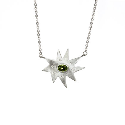 Silver Stella Necklace: Peridot