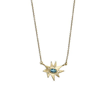 Gold Stellina Necklace: Blue Topaz