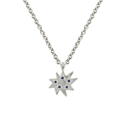 Mini Stella Silver Single Necklace with Sapphire