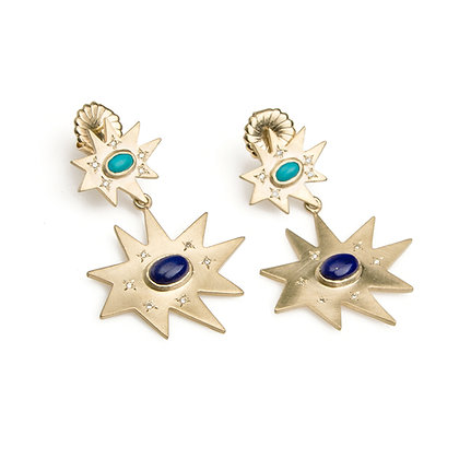 Gold Double Earrings: Turquoise, Lapis Lazuli
