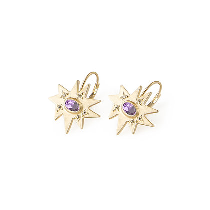 Gold Stellina Earrings: Amethyst