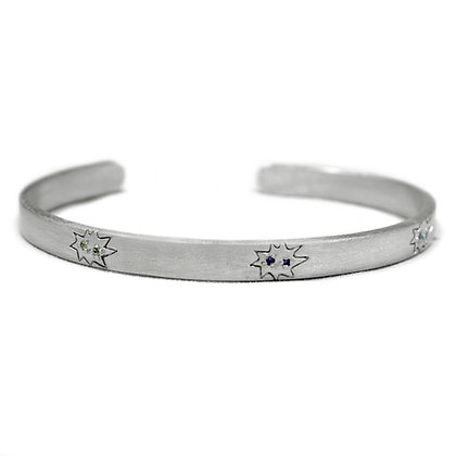 Mini Stella Engraved Cuff Bracelet with Multi-Stones
