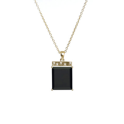 Black Onyx Tile Necklace