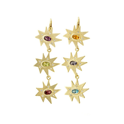 Gold Triple Stellina Earrings