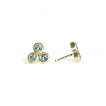 Three Dot Earrings with Blue Topaz