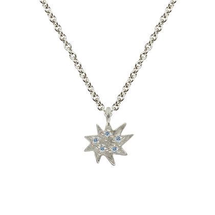 Mini Stella Silver Single Necklace with Blue Topaz