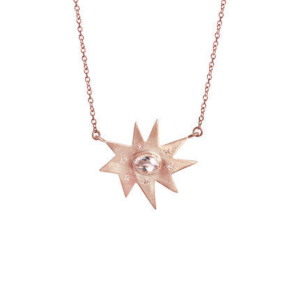 Rose Gold Stella Necklace: Morganite