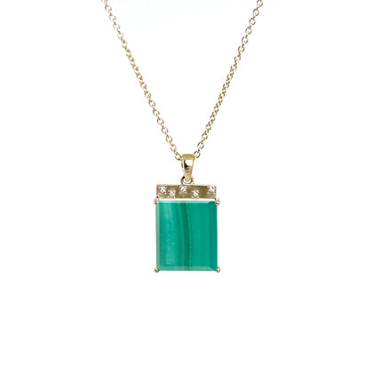 Malachite Tile Necklace -- long