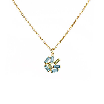 Medium Jubilation Necklace - Blue Topaz and Peridot