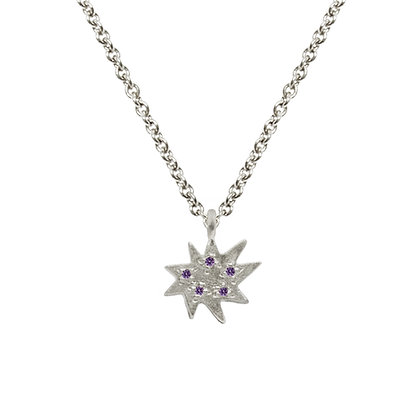 Mini Stella Silver Single Necklace with Amethyst