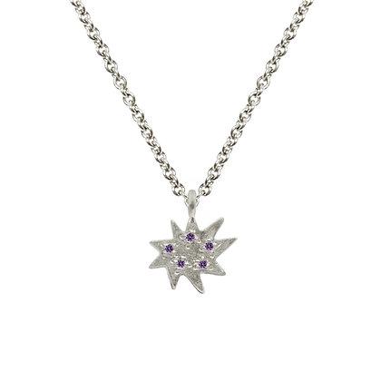 Mini Stella Silver Single Necklace with Amethyst