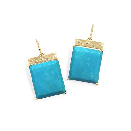 Turquoise Tile Earrings