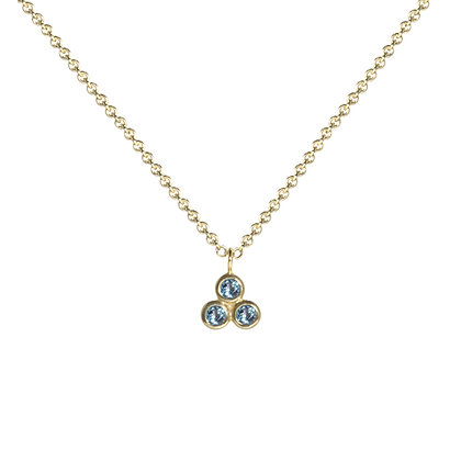 Three Dot Necklace with Blue Topaz
