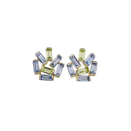 Medium Jubilation Studs - Blue Topaz and Peridot