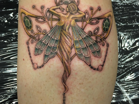 Featured Tattoo of the Week: Art Nouveau Inspired Jewelry by Katie Leigh