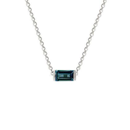 Sterling Silver London Blue Topaz Bonbon Necklace