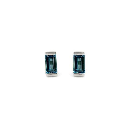 Sterling Silver London Blue Topaz Bonbon Stud Earrings
