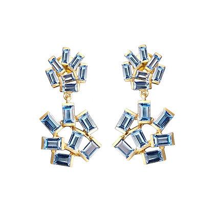 Double Jubilation Earrings - Blue Topaz