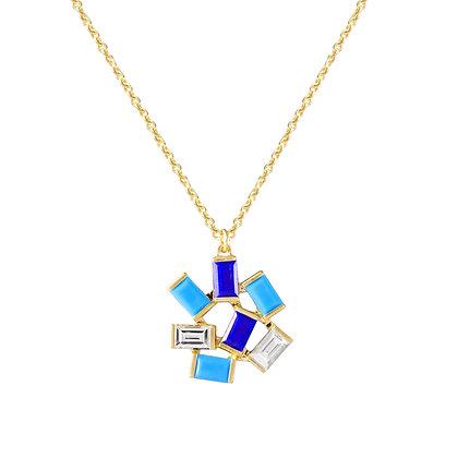 Large Jubilation Pendant - Diamonds, Turquoise and Lapis