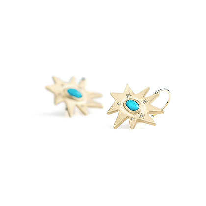Gold Stellina Earrings: Turquoise